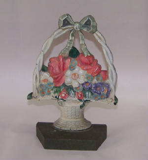 ANTIQUE FLOWER BASKET DOORSTOP