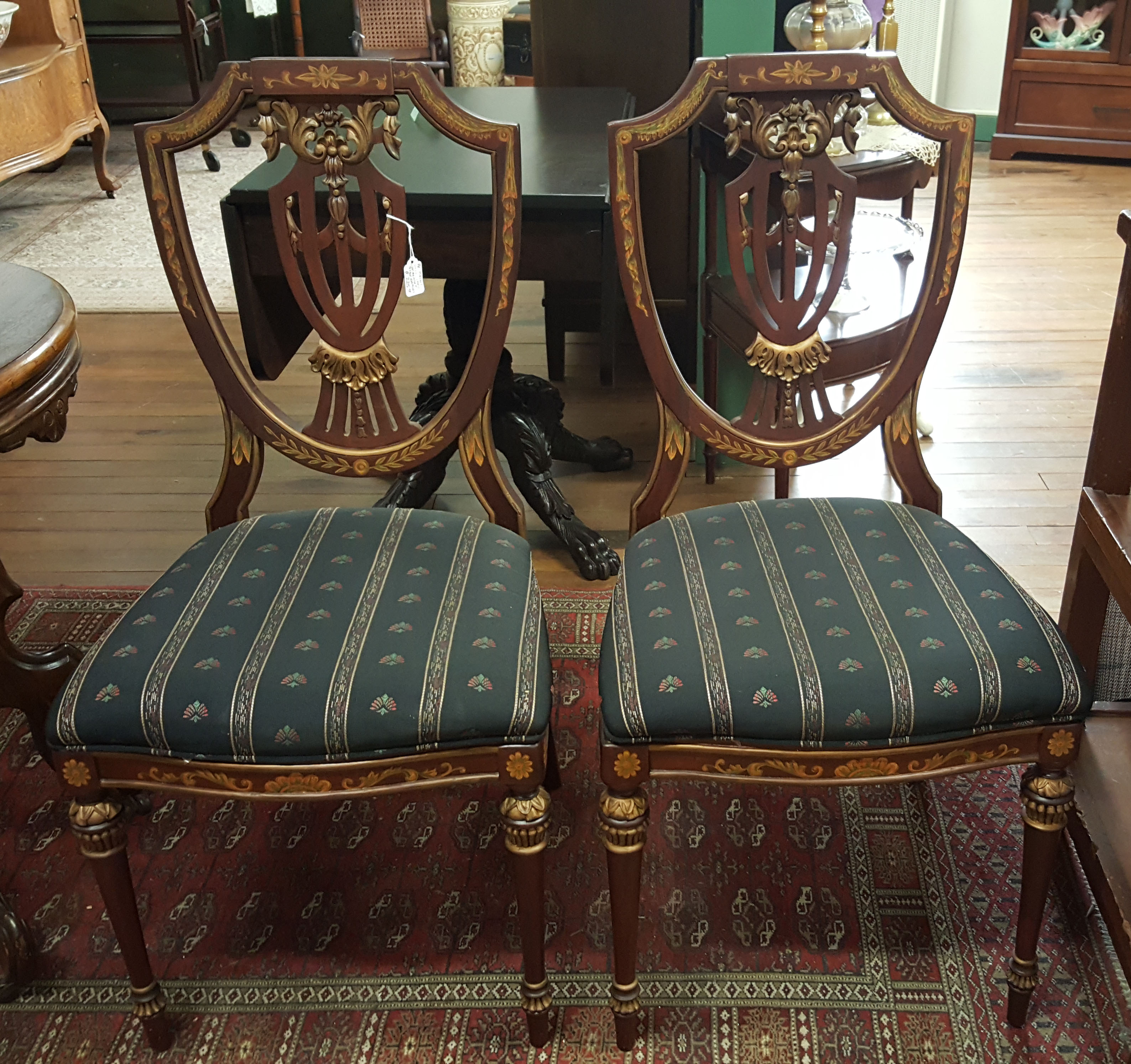 PAINT DECORATED WALNUT CHAIRS