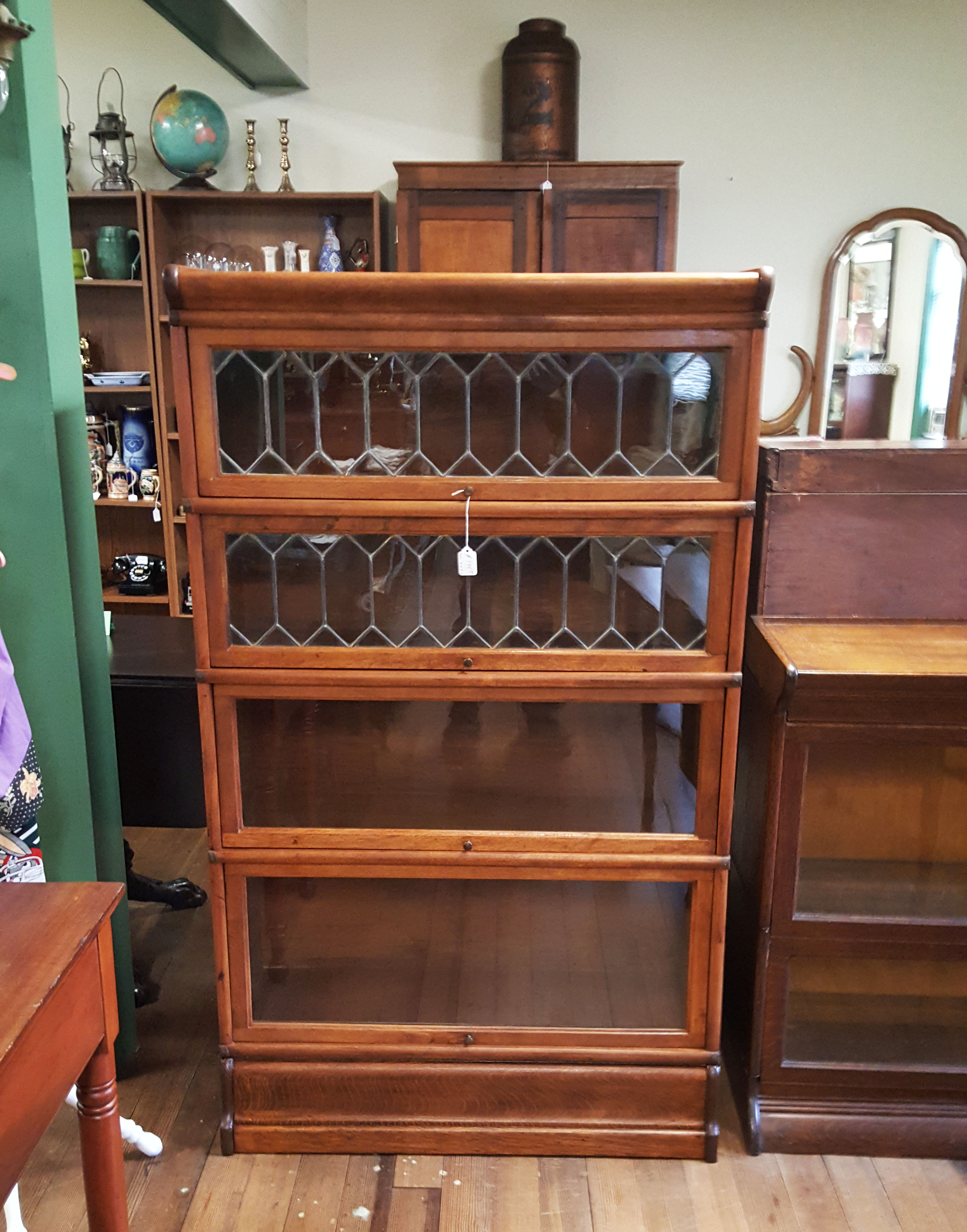 STACKING BOOKCASE LEADED GLASS