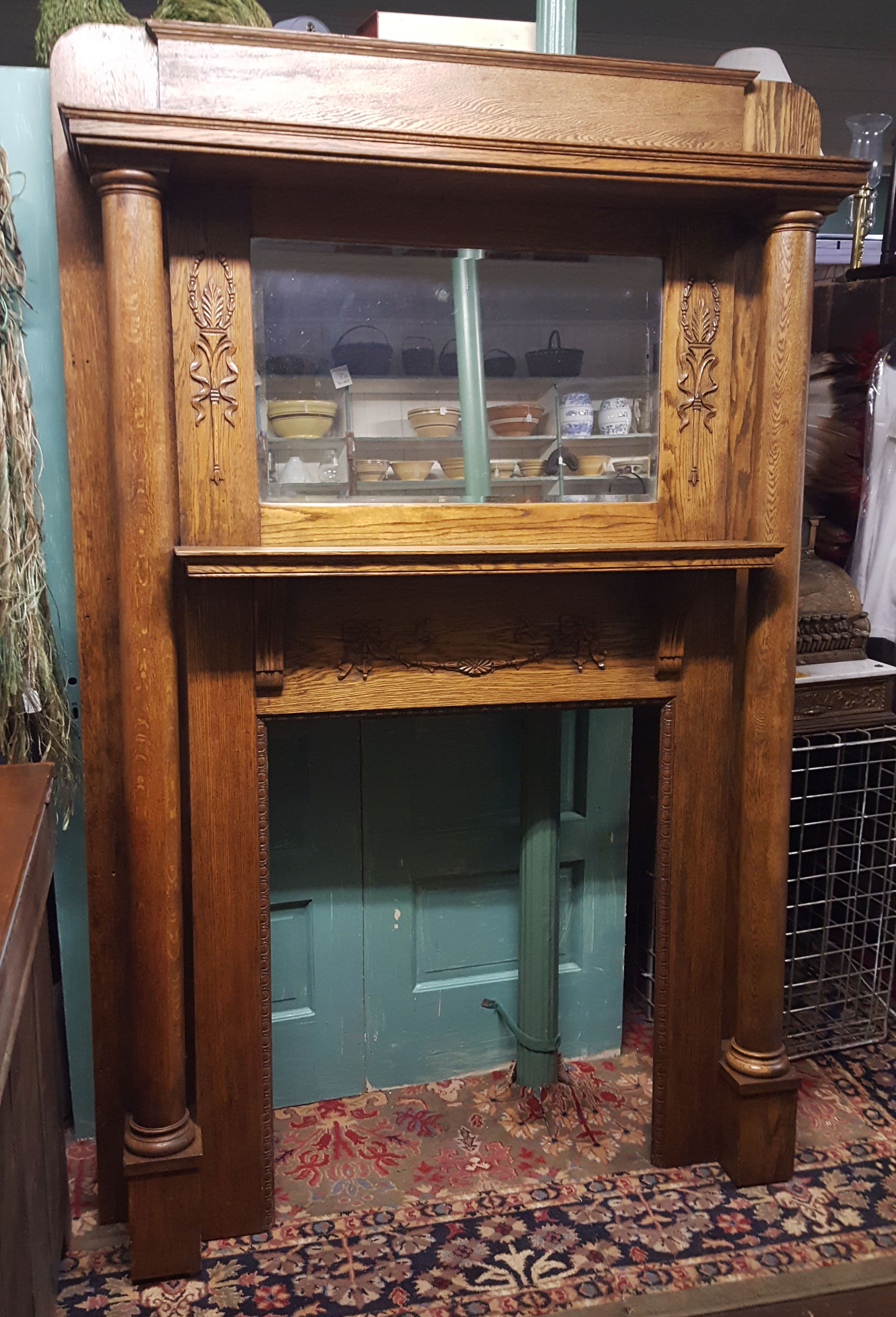 OAK FIREPLACE SURROUND WITH MIRROR