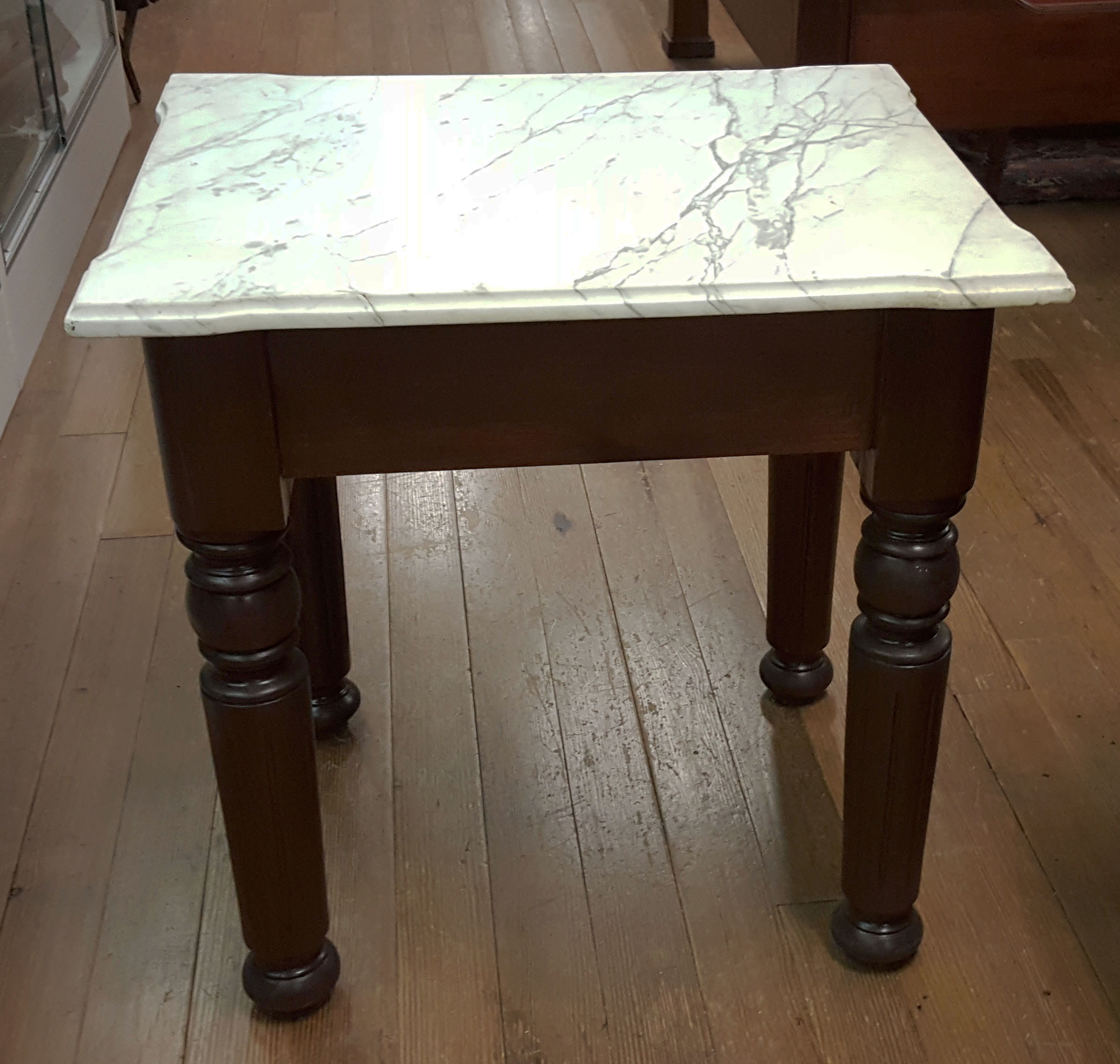 WALNUT MARBLE TOP SIDE TABLE
