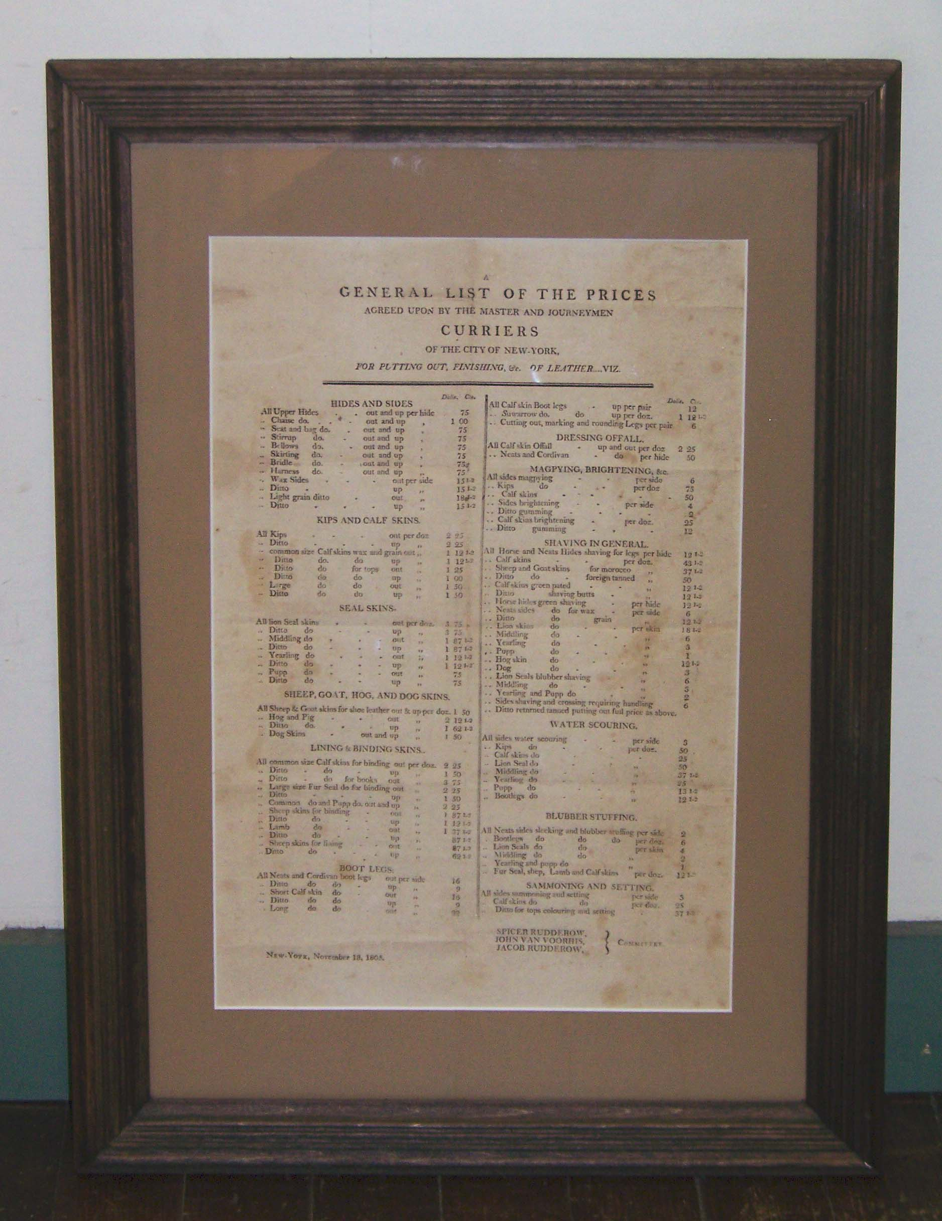 CURRIERS LIST DATED 1805